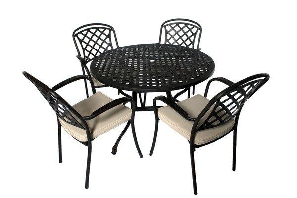 Cast Aluminium 4 Seater Round Set, Cast Aluminium Garden Seat